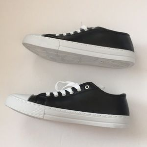 QUPID black faux leather sneakers